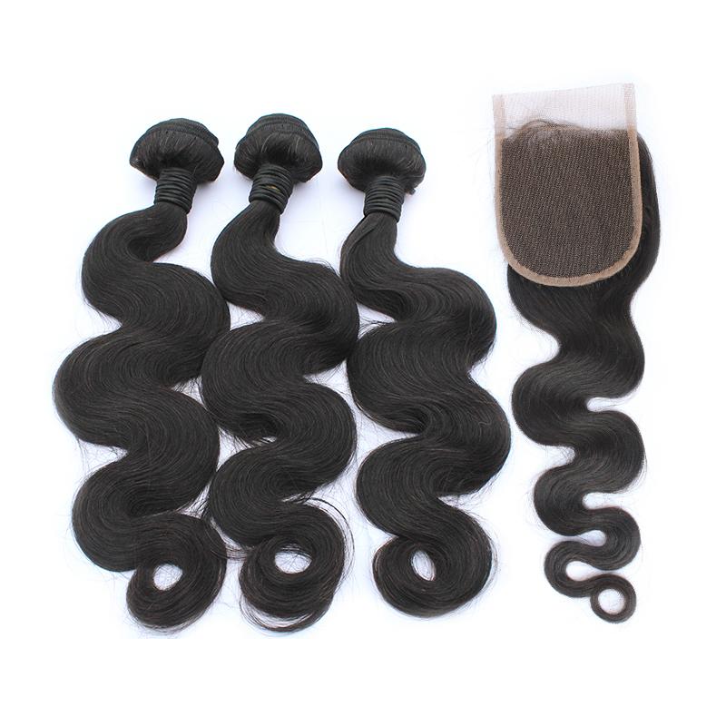 3 body wave bundles with closure virgin human hair 01