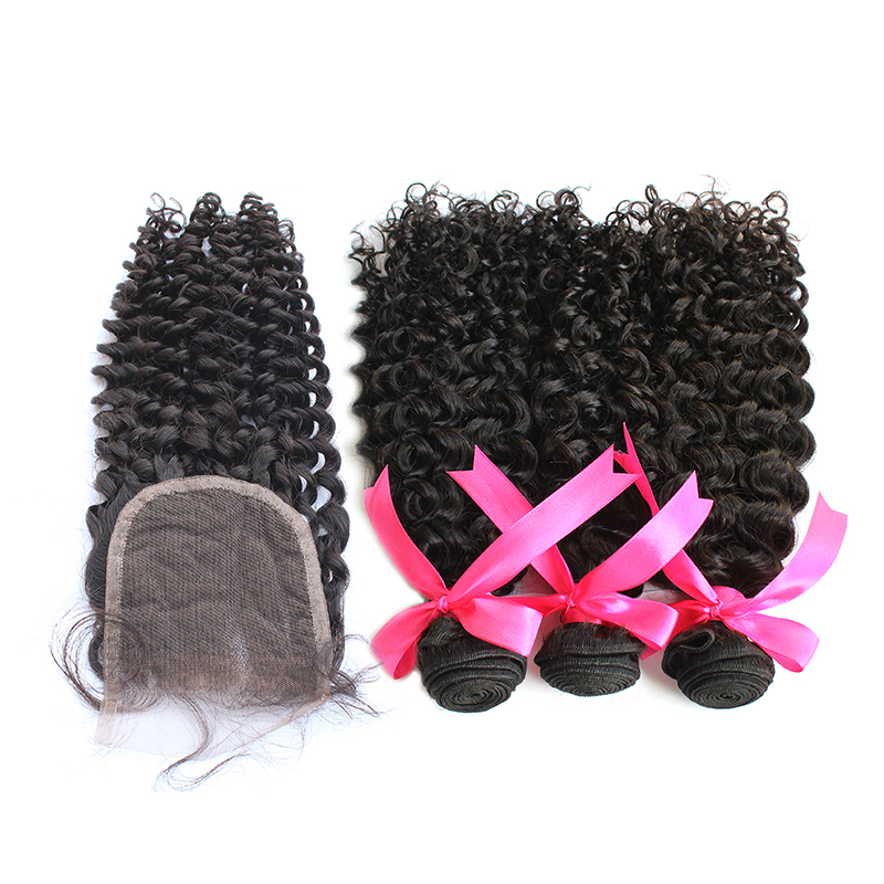 3 bundles with closure curly hair product 01