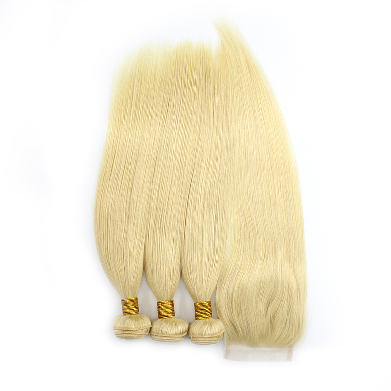 3 bundles with closure straight blond hair product 01