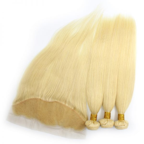 3 bundles with frontal straight blond hair product 01
