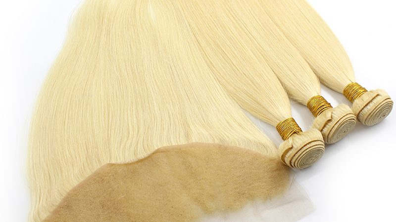 3 bundles with frontal straight blond hair product 03