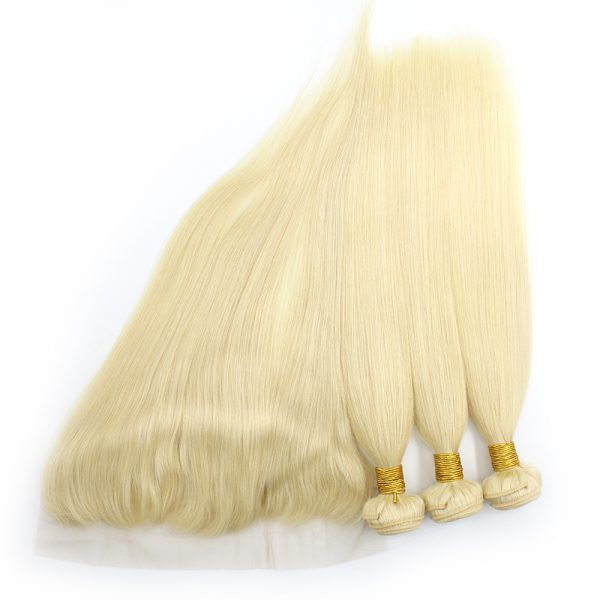 3 bundles with frontal straight blond hair product 04