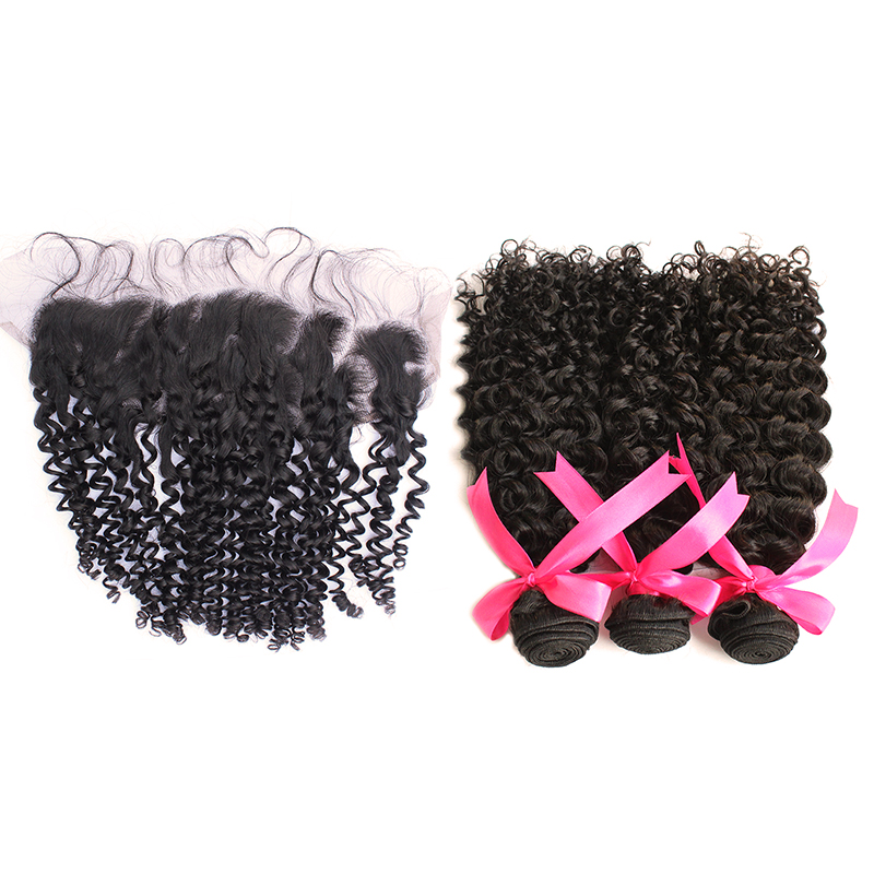 3 curly bundles with frontal virgin human hair 02
