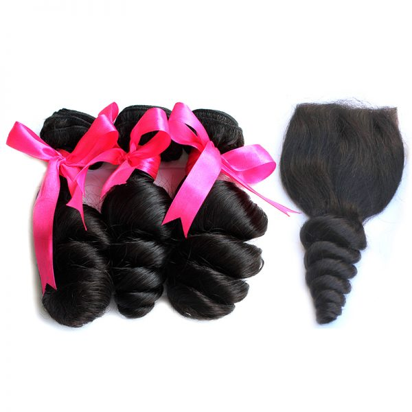 3 loose wave bundles with closure virgin human hair 01