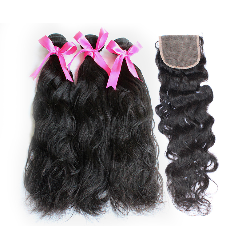 3 natural wave bundles with closure virgin human hair 01