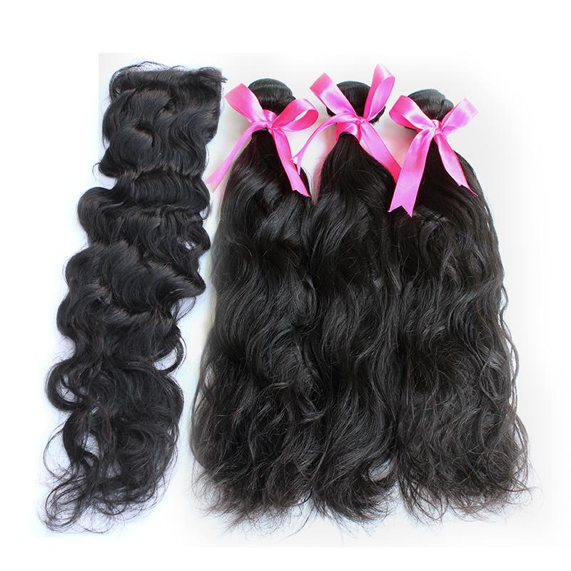 3 natural wave bundles with closure virgin human hair 02