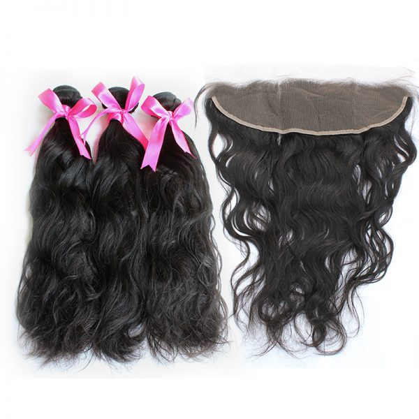 3 natural wave bundles with frontal virgin human hair 01