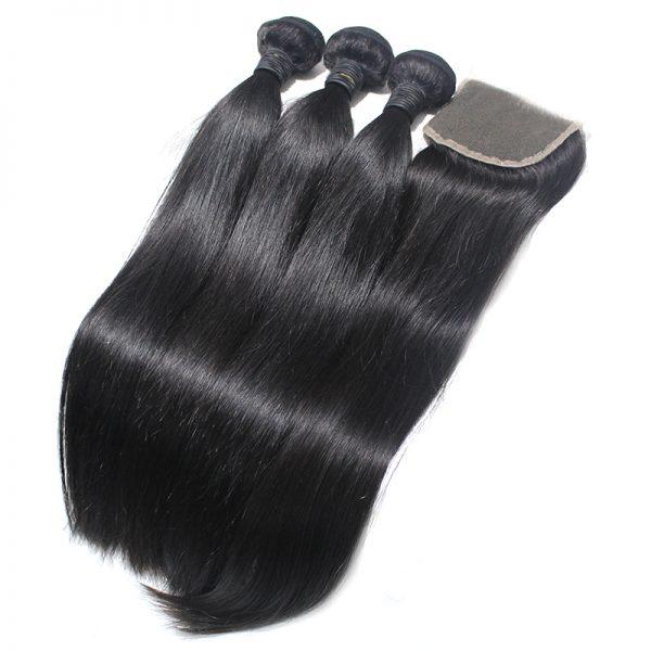 3 straight bundles with closure virgin human hair 01