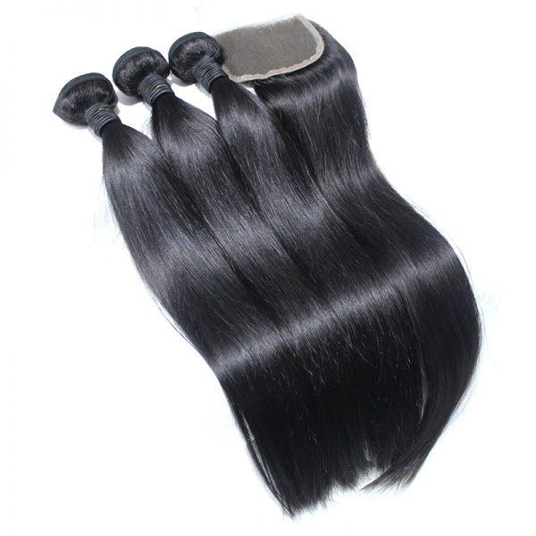 3 straight bundles with closure virgin human hair 02