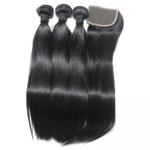 3 straight bundles with closure virgin human hair 03