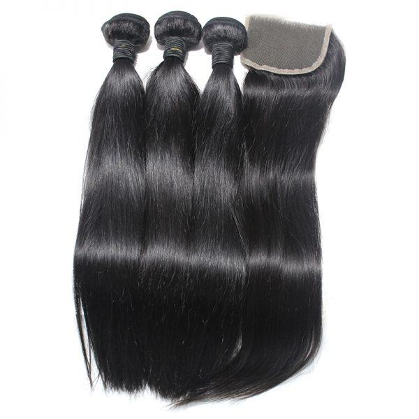 3 straight bundles with closure virgin human hair 03