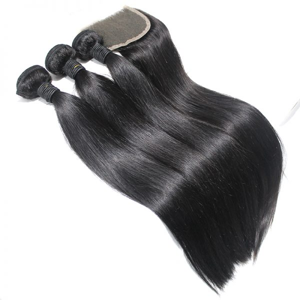 3 straight bundles with closure virgin human hair 04