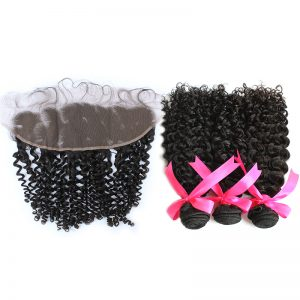 3 curly bundles with frontal virgin human hair 01