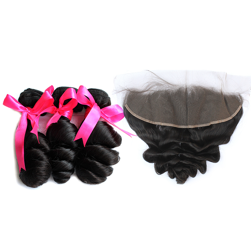 3 loose wave bundles with frontal virgin human hair 01