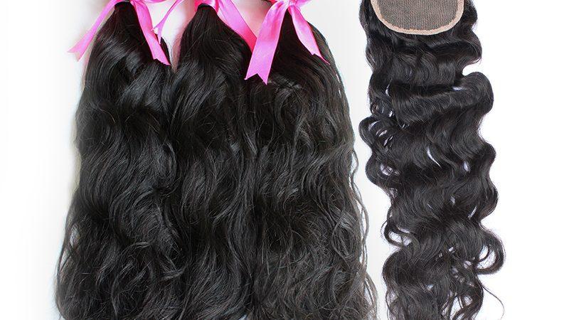 3 natural wave bundles with closure virgin human hair 01