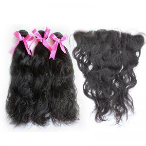 3 natural wave bundles with frontal virgin human hair 02